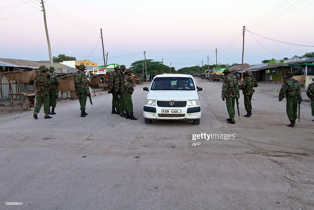 Officers of the General Service Unit (GSU) patrol the town of Garsen, in the Tana Delta Region, to impose the curfew that has been put in place as a security measure, on January 11 2013. Kenya's police chief said on January 11 that a spate of tribal clashes in the southeast of the country may be linked to politics and be part of a bid to drive out one community ahead of March 4 elections. This week 19 people were killed in the two separate raids in the volatile Tana River delta region, where scores have died since clashes broke out in August, and police are investigating local politicians for alleged involvement.