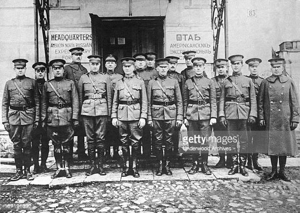 Officers of the United States Expeditionary Forces at their headquarters Archangel Russia March 4 1919