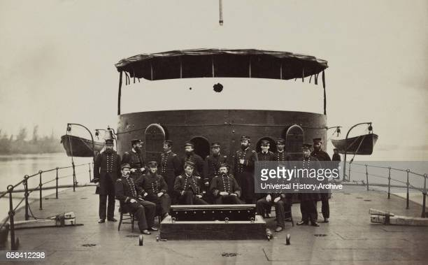 Officers on Deck of Monitor Mahopac James River Virginia early 1860's