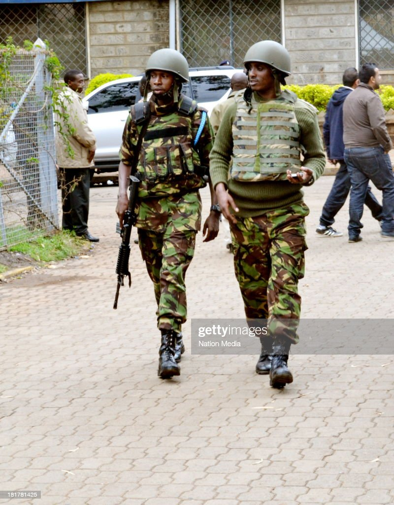 KDF officers patrolling outside Westgate Mall on September 24, 2013 in Nairobi, Kenya. The terrorist attack occurred on Saturday, 10-15 gunmen from the extremist group Al-Shabab entered the mall and opened fire at random on shoppers; 68 deaths have been confirmed.