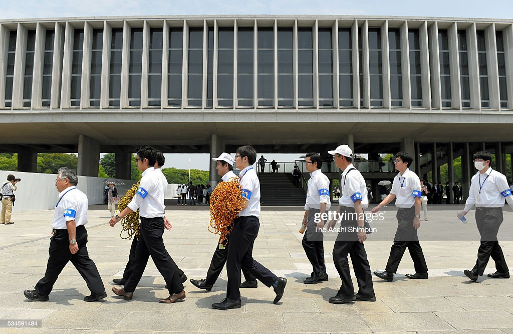 Officers prepare to close the Hiroshima Peace Memorial Park in preparation for the visit by U.S. President Barack Obama on May 26, 2016 in Hiroshima, Japan. Obama becomes the first sitting U.S. president to visit Hiroshima, where the first atomic bomb was dropped in 1945 at the end of World War II.