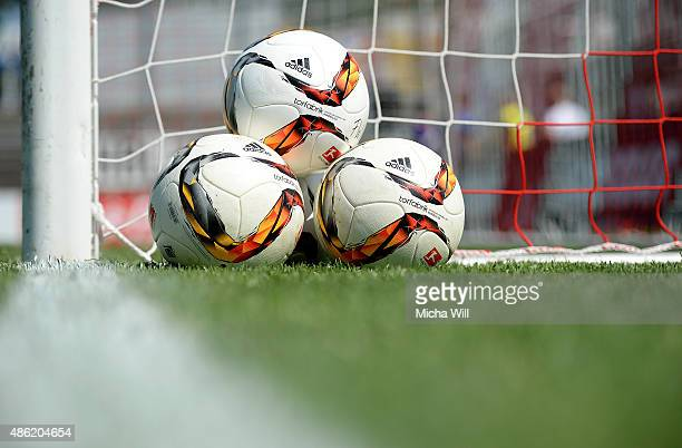 Official Adidas Torfabrik 2015 Bundesliga balls are pictured prior to the Third League mtch between Wuerzburger Kickers and Erzgebirge Aue at...
