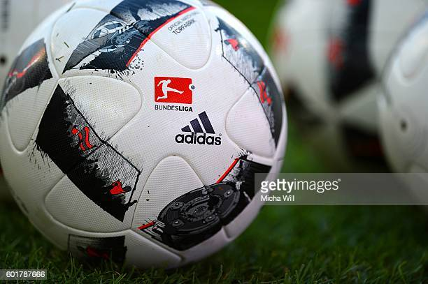Official Adidas Torfabrik Bundesliga balls are pictured during the Bundesliga match between FC Ingolstadt 04 and Hertha BSC at Audi Sportpark on...