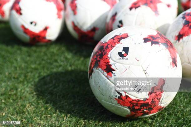Official ball of JLeague 2017 on the pitch before the Xerox Super Cup match between Kashima Antlers and Urawa Red Diamonds at Nissan Stadium on...
