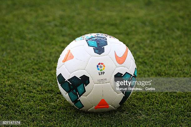 Official ball of the Spanish league with the logo of LFP is pictured prior to the Spanish league football match between FC Barcelona and Levante UD...