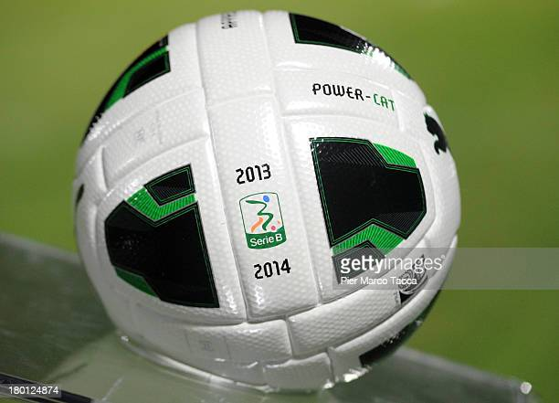 Official ball with the logo of Serie B before the Serie B match between AS Cittadella and Ternana Calcio on August 31 2013 in Cittadella Italy