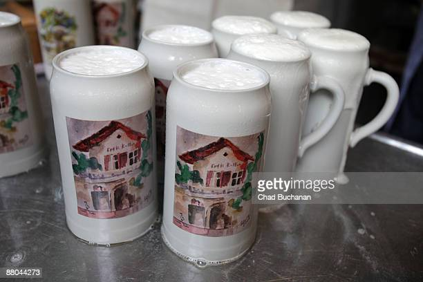 Official beer steins or 'Mass' ready to be served at the traditional country fair called 'Bergkirchweih' on May 28 2009 in Erlangen Germany