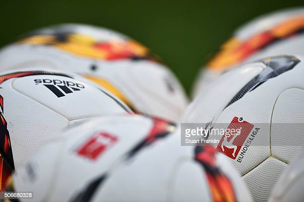 Official Bundesliga balls during the Bundesliga match between Hannover 96 and SV Darmstadt 98 at HDIArena on January 23 2016 in Hanover Germany