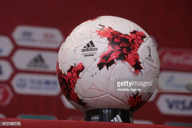 Official Confederations Cup ball Adidas 'Krasava' is seen at the press center of 'SaintPetersburg' Stadium in SaintPetersburg Russia on April 25 2017
