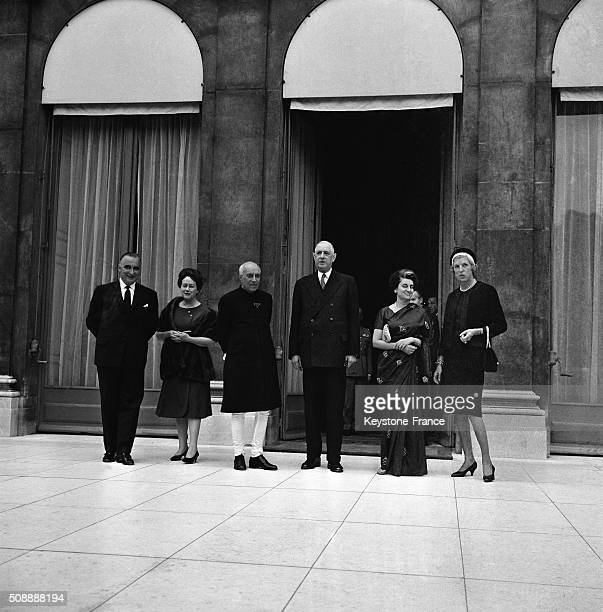 Official Dinner At the Elysée Palace For India Prime Minister Jawaharlal Nehru And Daughter Indira Gandhi With General Charles de Gaulle And Wife...