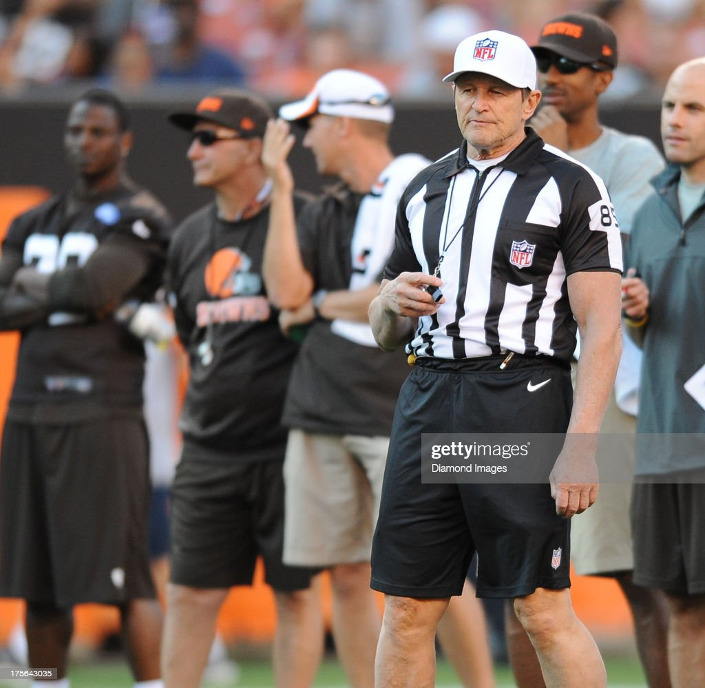 NFL official <a gi-track='captionPersonalityLinkClicked' href=/galleries/search?phrase=Ed+Hochuli&family=editorial&specificpeople=2091125 ng-click='$event.stopPropagation()'>Ed Hochuli</a> #85 stands on the field during practice at First Energy Stadium in Cleveland Ohio.
