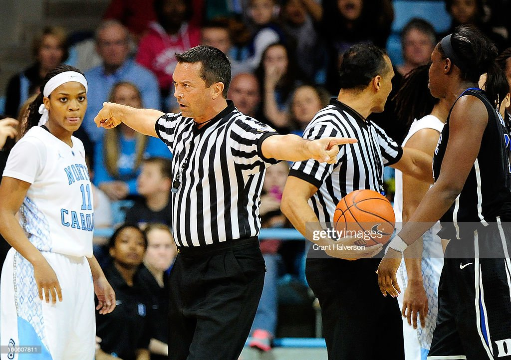 Official Edward Sidlasky calls a double technical foul against the Duke Blue Devils and the North Carolina Tar Heels during play at Carmichael Arena on February 3, 2013 in Chapel Hill, North Carolina.