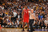 Official Joe Crawford ejects Ron Artest of the Houston Rockets following an altercation in Game Two of the Western Conference Semifinals against the...