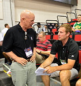NBA official Joe Crawford talks to Fred Hoiberg of the Chicago Bulls during the 2015 Summer League at The Cox Pavillion on July 15 2015 in Las Vegas...