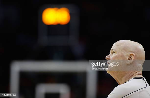 NBA official Joe Crawford waits on the court during the game between the Houston Rockets and the Milwaukee Bucks at the Toyota Center on February 6...