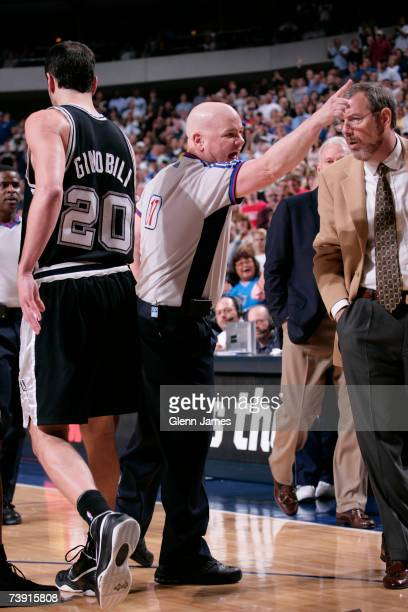 NBA official Joey Crawford ejects Tim Duncan of the San Antonio Spurs after Duncan's secound technical foul during NBA action against the Dallas...