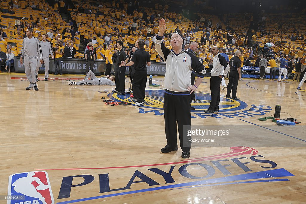NBA official, Joey Crawford, waves to the crowd before Game Six of the Western Conference Semifinals between the San Antonio Spurs and the Golden State Warriors during the 2013 NBA Playoffs on May 16, 2013 at Oracle Arena in Oakland, California.