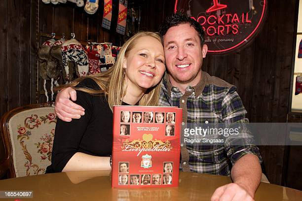 Official LFC writer of Liverpool FC Heroes Ragnhild Lund Ansnes and Robbie Fowler sign the book Liverpool FC Heroes at the Moods of Norway store on...