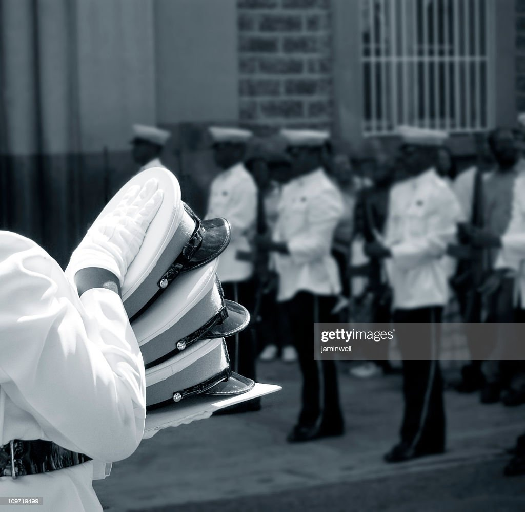 official military police state funeral ceremony : Stock Photo