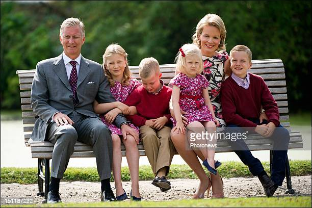 Official photoshoot of the Belgian Royal Family Prince Philip Princess Mathilde pictured with their kids Gabriel Elisabeth Eleonore and Emmanuel...