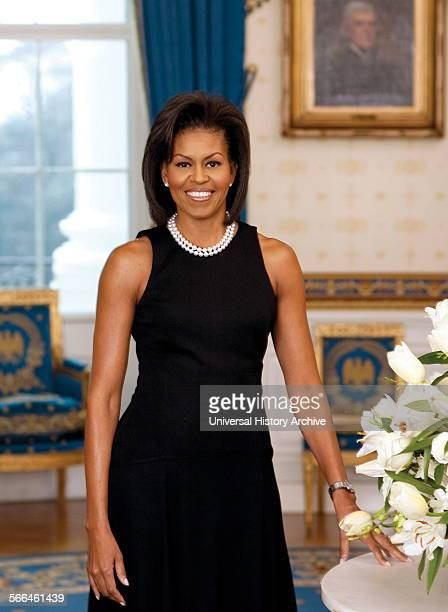 Official portrait of First Lady Michelle Obama An American lawyer and writer Photographed by Joyce N Boghosian Dated 2009