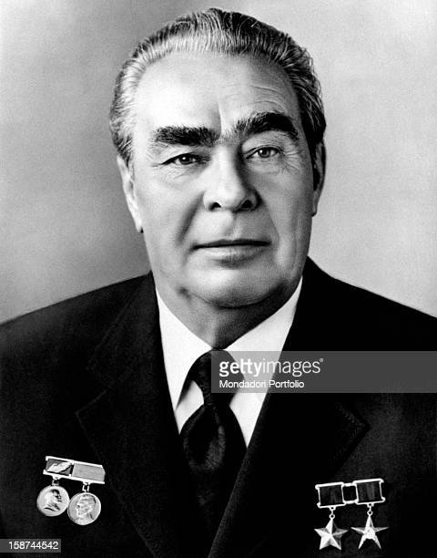 Official portrait of General Secretary of the Central Committee of the Communist Party of the Soviet Union Leonid Ilyich Brezhnev wearing his most...