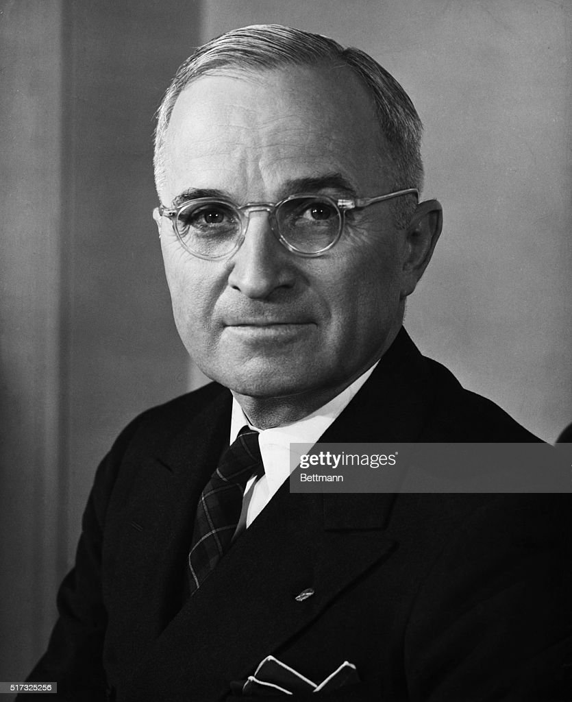Official portrait of Harry S. Truman (1884-1972), 33rd president of the United States.