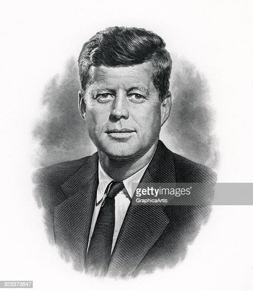 Official portrait of President John F Kennedy created for the United States Bureau of Engraving steel engraving circa 1962