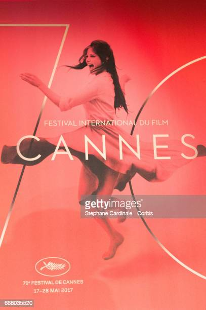 Official Poster of the 70th edition of the Cannes Film Festival is seen during the Cannes Film Festival Press Conference on April 13 2017 in Paris...