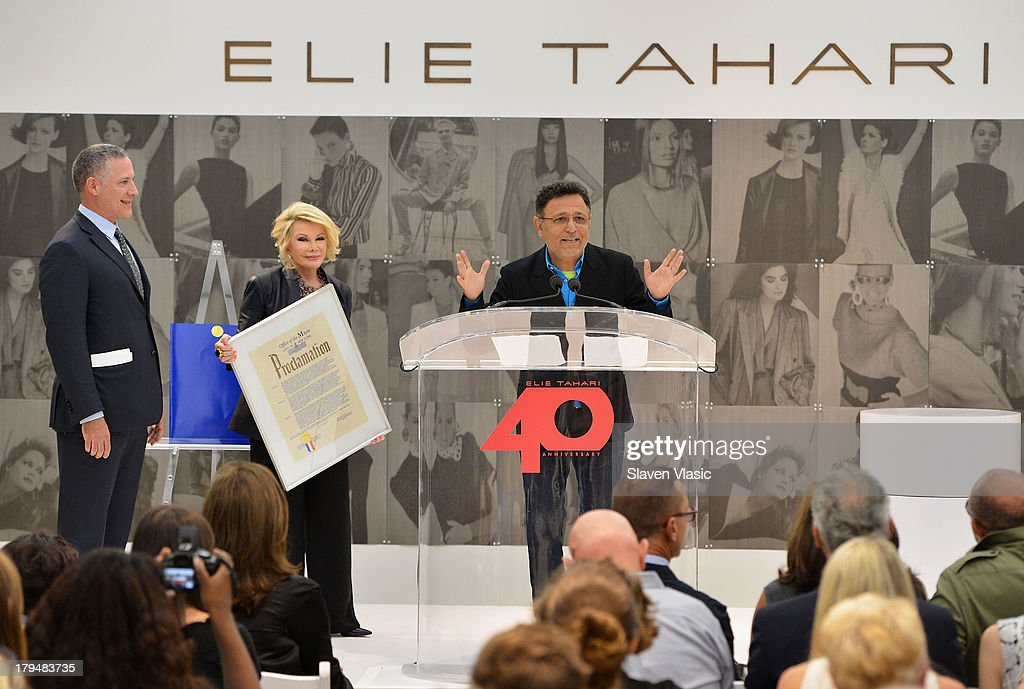 NYC official Robert Goldrich, TV personality <a gi-track='captionPersonalityLinkClicked' href=/galleries/search?phrase=Joan+Rivers&family=editorial&specificpeople=159403 ng-click='$event.stopPropagation()'>Joan Rivers</a> and designer Elie Tahari attend New York City's Elie Tahari Day at Elie Tahari Pop-up Store on September 4, 2013 in New York City.