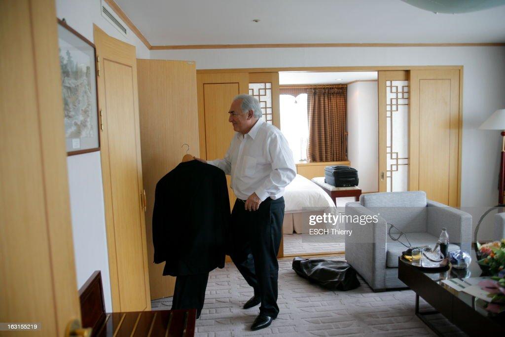 Official Travel Of <a gi-track='captionPersonalityLinkClicked' href=/galleries/search?phrase=Dominique+Strauss-Kahn&family=editorial&specificpeople=227268 ng-click='$event.stopPropagation()'>Dominique Strauss-Kahn</a> In South Korea. Dominique STRAUSS-KAHN en voyage en Corée du Sud pour assister à la conférence internationale 'Asie 21 : montrer la marche à suivre' qui se tient à
