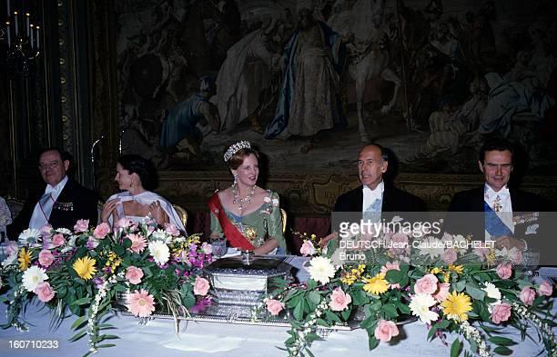 Official Visit Of Margrethe And Henrik Of Denmark In France En France en octobre 1978 lors d'une visite officielle de gauche à droite Raymond BARRE...