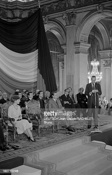 Official Visit Of Margrethe And Henrik Of Denmark In France En France à Paris en octobre 1978 Jacques CHIRAC maire de Paris prononçant un discours...