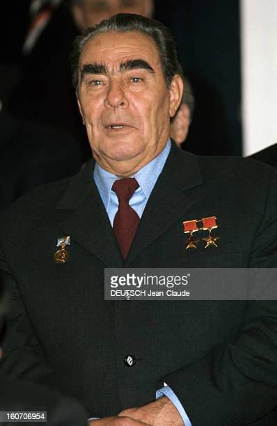 Official Visit Of President Valery Giscard D'estaing In The Ussr En octobre 1975 portrait du Premier secrétaire du Parti communiste de l'Union...