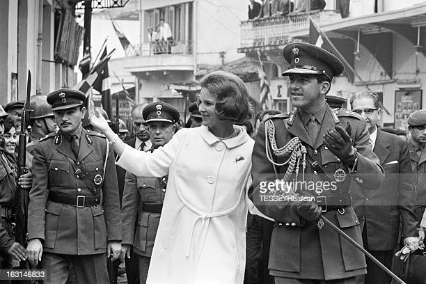 Official Visit Of The King Constantine Of Greece And The Queen AnneMarie Of Greece To Their Country En Grèce en octobre 1964 le roi CONSTANTIN II DE...