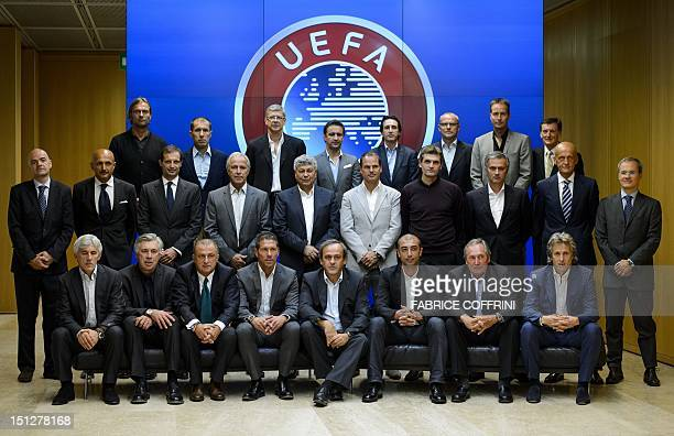 UEFA officials and european coaches pose for a family picture on September 5 2012 during the Elite football Club Coaches Forum at the UEFA...