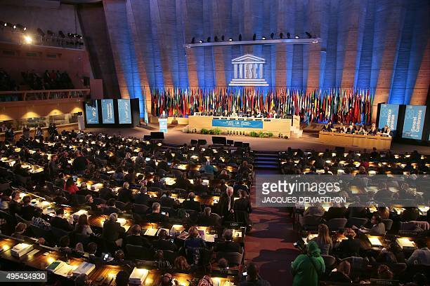 Officials attend the 38th session of the general conference of the United Nations children's agency UNESCO on November 3 in Paris AFP PHOTO / JACQUES...