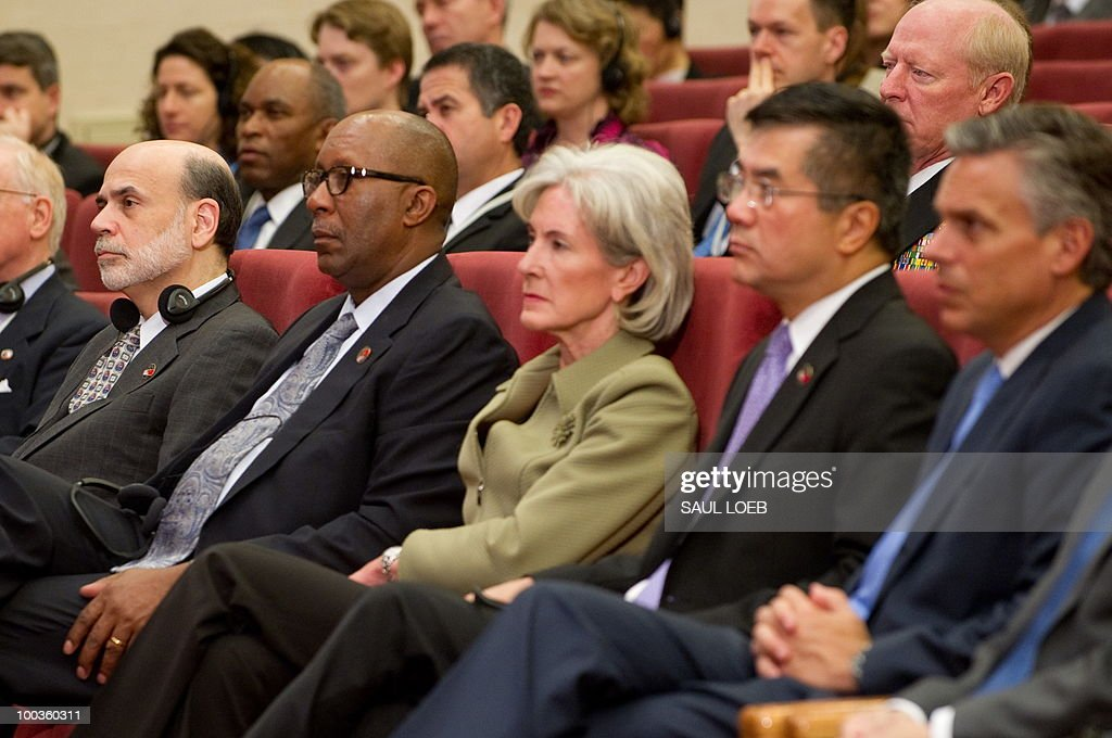 US officials Chairman of the Federal Reserve Ben Bernanke, US Trade Representative Ron Kirk, Secretary of Health and Human Services Kathleen Sebelius, Secretary of Commerce Gary Locke and US Ambassador to China Jon Huntsman, listen as Chinese President Hu Jintao speaks during the opening session of the second round of the US-China Strategic & Economic Dialogue at the Great Hall of the People in Beijing on May 24, 2010. The US and China opened two days of high-level talks due to cover a wide range of issues including tensions over the sinking of a South Korean warship, blamed on Pyongyang. AFP PHOTO / POOL / Saul LOEB