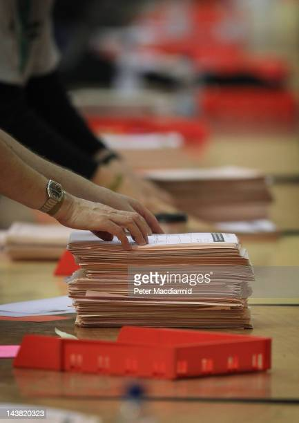 Officials count votes for the London Mayoral and London Assembly elections at Alexandra Palace on May 4 2012 in London England Full results and final...