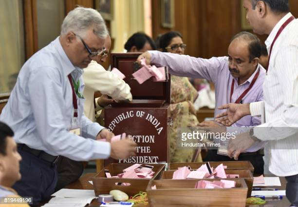Officials counting votes for the Presidential Election at Parliament House on July 20 2017 in New Delhi India NDA candidate Ram Nath Kovind has been...