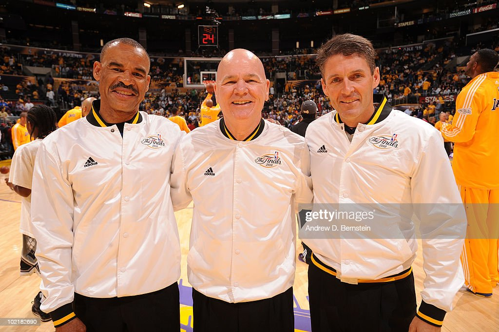 Officials Danny Crawford, Joey Crawford, and Scott Foster pose for a photograph before a game between the Boston Celtics and the Los Angeles Lakers in Game Seven of the 2010 NBA Finals on June 17, 2010 at Staples Center in Los Angeles, California.