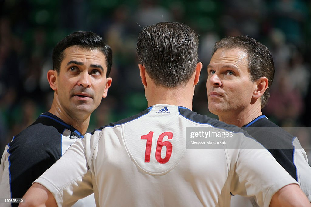 Officials discuss a call during the Utah Jazz matchup against the Milwaukee Bucks at Energy Solutions Arena on February 06, 2013 in Salt Lake City, Utah.
