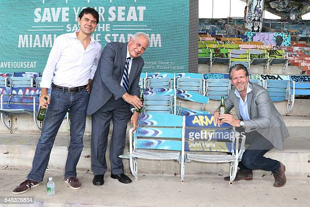 Officials from Heineken the City of Miami the National Trust for Historic Preservation and Indiegogo celebrate the launch of the 'Save Your Seat'...