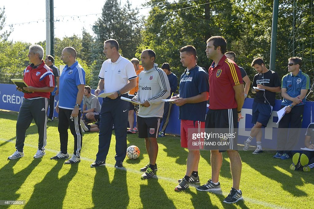 Officials from US Major League Soccer training centers attend a training session with JeanClaude Giuntini the French national U17 trainer as part of...