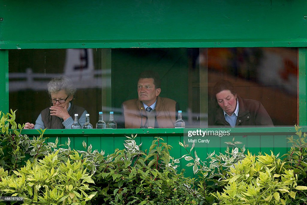 Officials judge the dressage section of the Badminton Horse Trials on May 8, 2014 in Badminton, Gloucestershire.