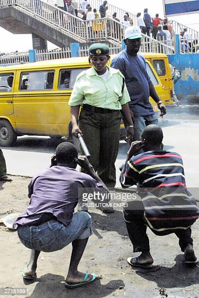 Officials of Kick Against Indiscipline drill offenders of environmental law in frogjumping 10 November 2003 in Lagos The Lagos State ministry of...