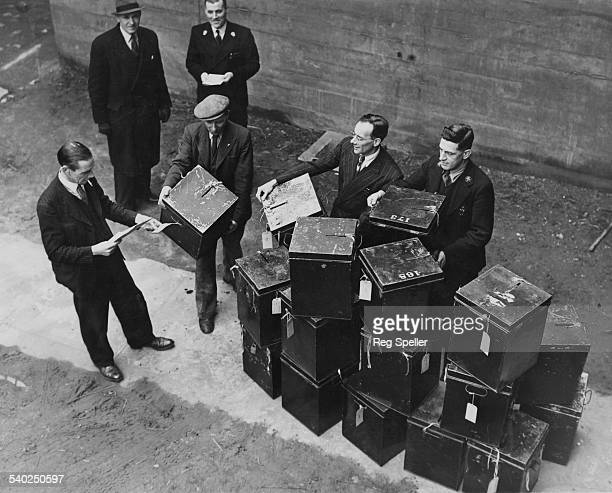 Officials prepare the ballot boxes for despatch ready to be distributed to polling booths in North East and Southwest London Islington London 22nd...