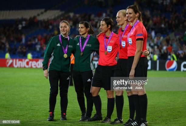 Officials Sian MasseyEllis Riem HusseinKatrin Rafalski Bibiana Steinhaus and Christina Biehl during the UEFA Women's Champions League Final match...