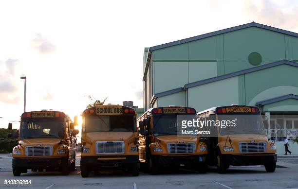 Officials stage up buses at Coral Shores High School for evacuation and continue to prepare for Hurricane Irma in Islamorada Florida on September 7...