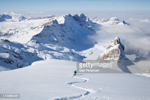 Off-piste skier in powder snow